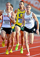 May 25, 2013: Patrick Casey of Oklahoma #875 and Austin Mudd of Wisconsin #1664 dash towards the finish line in 1500 meter quarterfinal event during NCAA Outdoor Track & Field Championships West Preliminary at Mike A. Myers Stadium in Austin, TX.