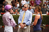 Joey Rocco Jr, Michael Matz in saddling paddock at Gulfstream Park.  Hallandale Beach Florida. 12-08-2012