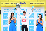 Race leader Giulio Ciccone (ITA) Trek-Segafredo also retains the young riders White Jersey at the end of Stage 7 of the 2019 Tour de France running 230km from Belfort to Chalon-sur-Saone, France. 12th July 2019.<br /> Picture: ASO/Alex Broadway | Cyclefile<br /> All photos usage must carry mandatory copyright credit (© Cyclefile | ASO/Alex Broadway)