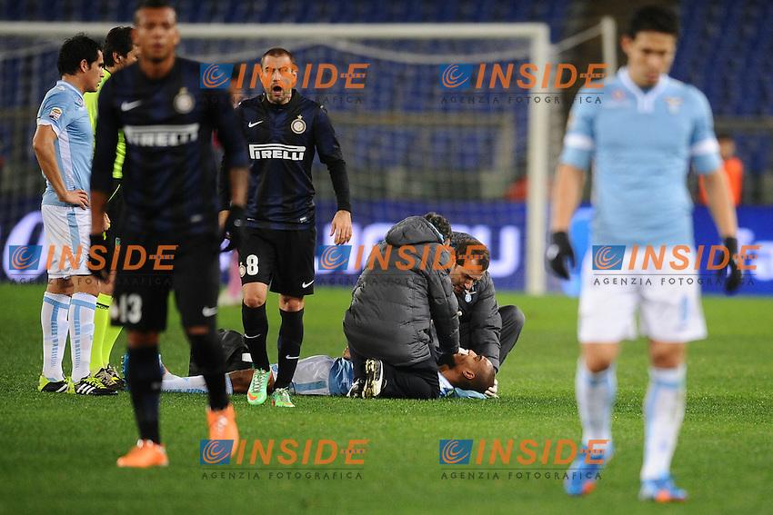 Infortunio Abdoulay Konko Lazio.<br /> Roma 06-01-2014 Stadio Olimpico. Football Calcio 2013/2014 Serie A. Lazio - Inter. Foto Antonietta Baldassarre / Insidefoto