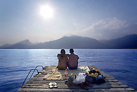 Malcezine, Lago di Garda, Italy, May 2009. A young couple enjoys the evening sun.The northern part of the lake area is loved by sportive people, while the south is known for its relxed atmosphere. Photo by Frits Meyst/Adventure4ever.com