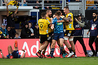 14th June 2020, Aukland, New Zealand;  Hurricanes hooker Dane Coles celebrates his try with as Blues Beauden Barrett is caught up in the celebrations during the Investec Super Rugby Aotearoa match, between the Blues and Hurricanes held at Eden Park, Auckland, New Zealand.