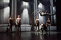 London, UK. 18.02.2015. Dance Consortium presents Cirque Eloize in CIRKOPOLIS, at the Peacock Theatre. Picture shows: German Wheel -Frederic Lemieux Courmier, Samuel Charlton, Mickael Bruyere-Labbe, Joris de Jong, Olivier Poitras, Nelson Caillard. Photograph © Jane Hobson.