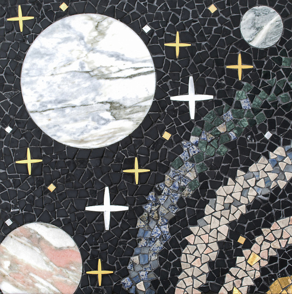"Personal Space, a hand-cut and waterjet stonemosaic, shown in tumbled Nero Marquina, Desert Pink, Soccoro Gray, Blue Mac, Blue Bahia, Spring Green, Alpi with polished polished Red Travertine, Cirrus, Rose Noriega, Alba Chiara, Cippolino, Honey Onyx, White Onyx, Azure, honed Horizon, with Brass, Aluminum, Shell, and 24k gold, is part of Cean Irminger's second KIDDO Collection, ""KIDDO: Wunderkammer® Edition"" for New Ravenna."