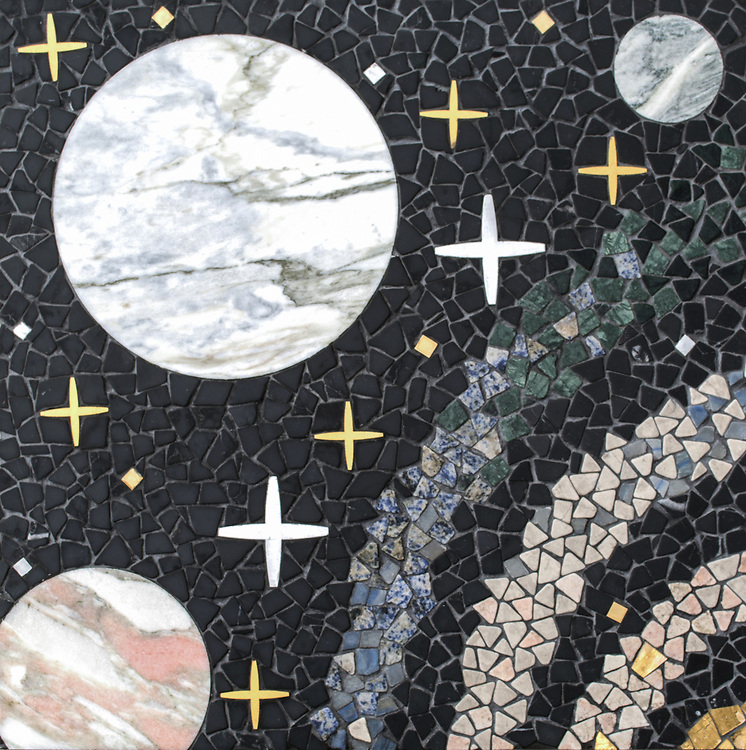 """Personal Space, a hand-cut and waterjet stonemosaic, shown in tumbled Nero Marquina, Desert Pink, Soccoro Gray, Blue Mac, Blue Bahia, Spring Green, Alpi with polished polished Red Travertine, Cirrus, Rose Noriega, Alba Chiara, Cippolino, Honey Onyx, White Onyx, Azure, honed Horizon, with Brass, Aluminum, Shell, and 24k gold, is part of Cean Irminger's second KIDDO Collection, """"KIDDO: Wunderkammer® Edition"""" for New Ravenna."""