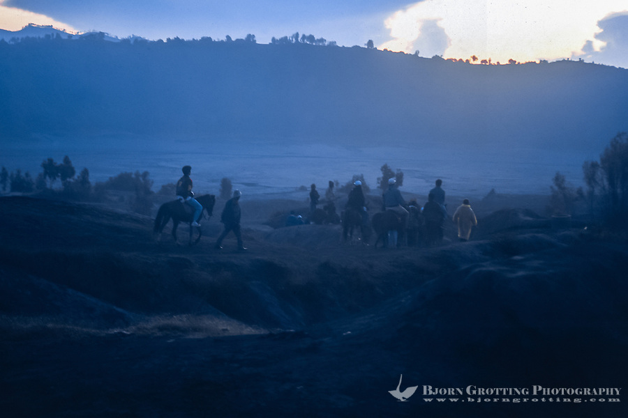 Java, East Java, Mount Bromo. On the way back from the volcano after watching the sunrise. You can rent a horse or just walk.