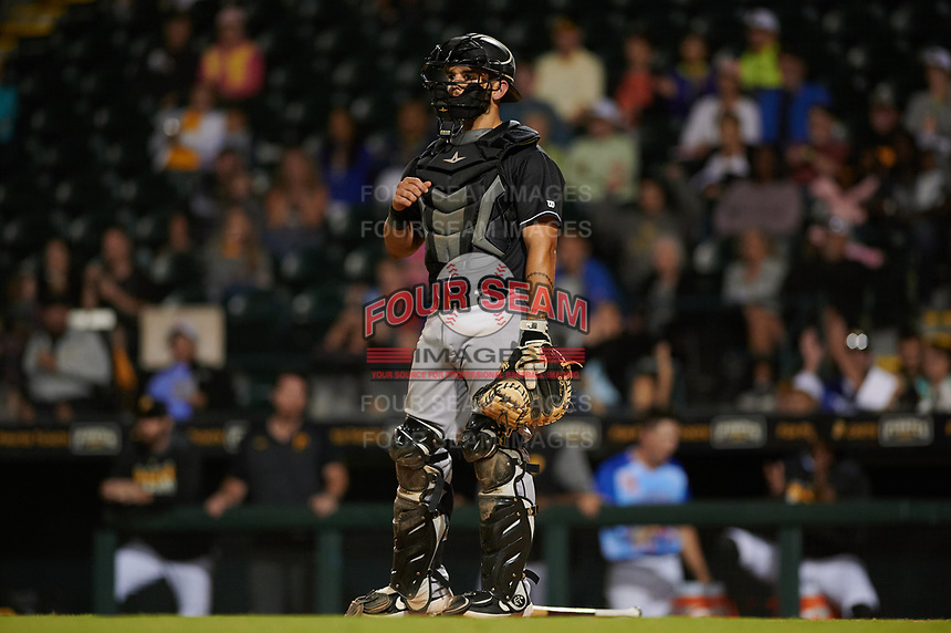 Jupiter Hammerheads catcher Michael Hernandez (6) during a Florida State League game against the Bradenton Marauders on April 20, 2019 at LECOM Park in Bradenton, Florida.  Bradenton defeated Jupiter 3-2.  (Mike Janes/Four Seam Images)