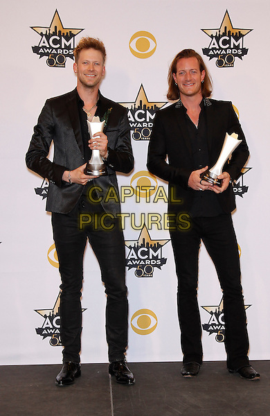 19 April 2015 - Arlington, TX -   Florida Georgia Line, Brian Kelley, Tyler Hubbard.  The 2015 ACM Awards at AT&amp;T Stadium- Press Room<br /> CAP/ADM/MJT<br /> &copy; MJT/AdMedia/Capital Pictures