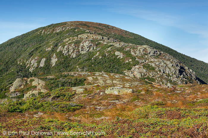 Mount Eisenhower from along the Mt Eisenhower Trail in Sargent's Purchase in the New Hampshire White Mountains during the last days of summer; this area is part of the Southern Presidential Range. Named after President Dwight D. Eisenhower, Mount Eisenhower is straight ahead. This mountain was once called Mount Pleasant, but was renamed Mount Eisenhower after President Eisenhower died.
