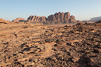 Massive mountain with towering cliffs, Wadi Rum Protected Area (WRPA), Wadi Rum National Park, also known as The Valley of the Moon, 74,000-hectare, UNESCO World Heritage Site, desert landscape, southern Jordan, Middle East. Picture by Manuel Cohen