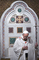Pope Francis celebrates a mass,in the Rome's basilica of St. John Lateran, the official seat of the bishop of Rome, and presides over a ceremony in which he formally takes possession of the church. on April 7, 2013