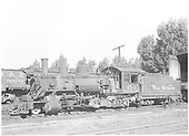Left side view of K-27 #454 at roundhouse.<br /> D&amp;RGW  Montrose, CO