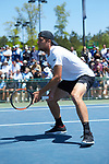 Borna Gojo of the Wake Forest Demon Deacons in action at #1 doubles against the North Carolina Tar Heels at the 2018 ACC Men's Tennis Championship at the Cary Tennis Center on April 29, 2018 in Cary, North Carolina.  The Demon Deacons defeated the Tar Heels 4-0.  (Brian Westerholt/Sports On Film)