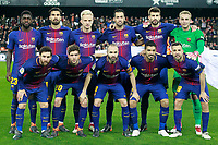 FC Barcelona's team photo with Samuel Umtiti, Andre Gomes, Ivan Rakitic, Sergio Busquets, Gerard Pique, Jasper Cillessen, Leo Messi, Sergi Roberto, Andres Iniesta, Luis Suarez and Jordi Alba during Spanish King's Cup Semi Final 2nd match. February 8,2018. (ALTERPHOTOS/Acero)