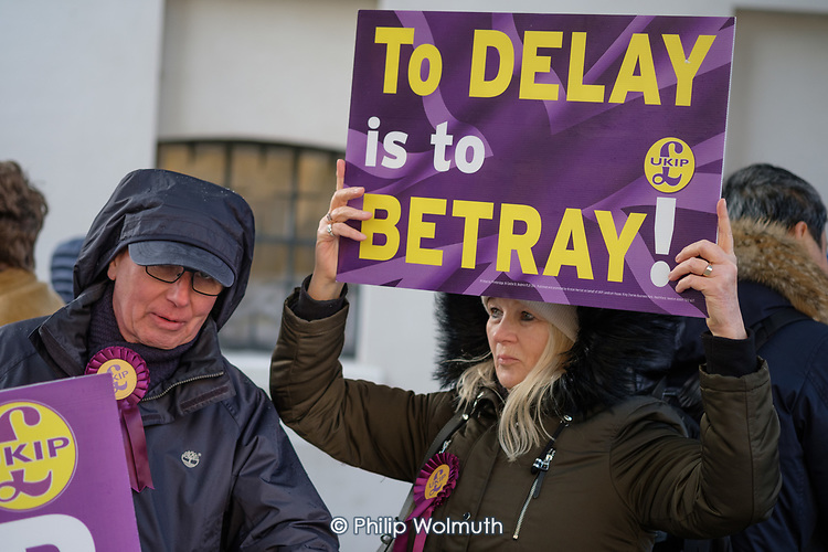 To Delay Is To Betray.  Brexit supporters demonstrate outside the Houses of Parliament as MPs vote to extend the Article 50 deadline for an agreed withdrawal deal with the EU.  Westminster, London.