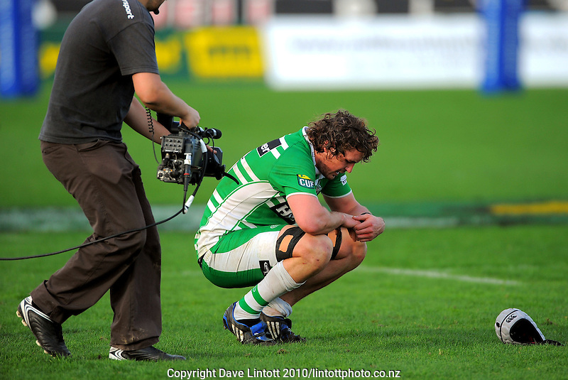 A Sky cameraman films Manawatu's Hamish Gosling after the loss. ITM Cup rugby - Manawatu Turbos v Hawkes Bay at FMG Stadium, Palmerston North, New Zealand on Sunday, 29 August 2010. Photo: Dave Lintott/lintottphoto.co.nz
