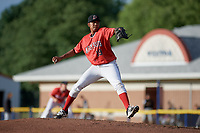 Batavia Muckdogs starting pitcher Humberto Mejia (19) delivers a pitch during a game against the West Virginia Black Bears on June 19, 2018 at Dwyer Stadium in Batavia, New York.  West Virginia defeated Batavia 7-6.  (Mike Janes/Four Seam Images)