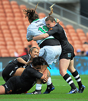 Billy-Jean Ale is wrapped up during Women's Rugby League World Cup warmup match between the Kiwi Ferns and Wahine Toa at the FMG Stadium in Hamilton, New Zealand on Saturday, 4 November 2017. Photo: Dave Lintott / lintottphoto.co.nz