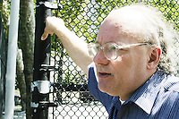 """Ron Grunberg, editor of the newspaper """"BigNews"""" (written for and sometimes by homeless people) oversees a practice of the United States Homeless World Cup soccer team July 7, 2004."""
