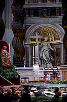 The transparent coffin of St Padre Pio in St Peter's basilica,a the Vatican. Pope Benedict XVI leads the mass for Ash Wednesday, opening Lent, the forty-day period of abstinence and deprivation for the Christians, before the Holy Week and Easter on February,10, 2016