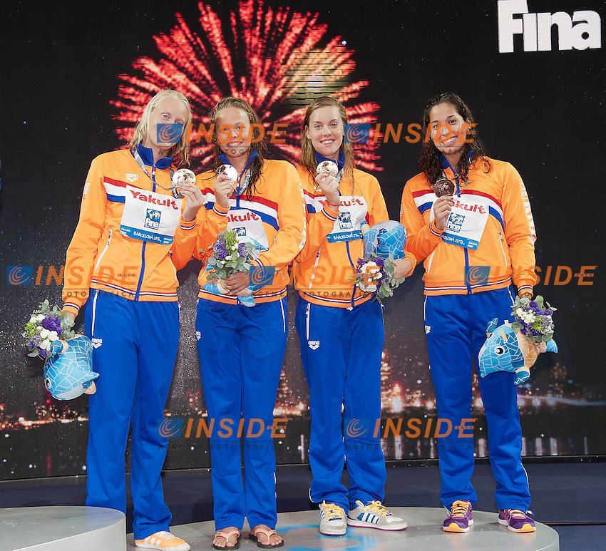 Netherlands bronze medal<br /> Inge Dekker, Elise Bouwens, Femke Heemskerk, Ranomi Kromowidjojo<br /> 4x100 freestyle women<br /> 15th FINA World Aquatics Championships 2013<br /> Day 09 Swimming finals<br /> Barcelona 20 July - 4 August 2013<br /> Photo G.Scala/Insidefoto/Deepbluemedia.eu