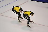 SCHAATSEN: HEERENVEEN: IJsstadion Thialf, 04-02-15, Training World Cup, Hein Otterspeer, Stefan Groothuis, ©foto Martin de Jong