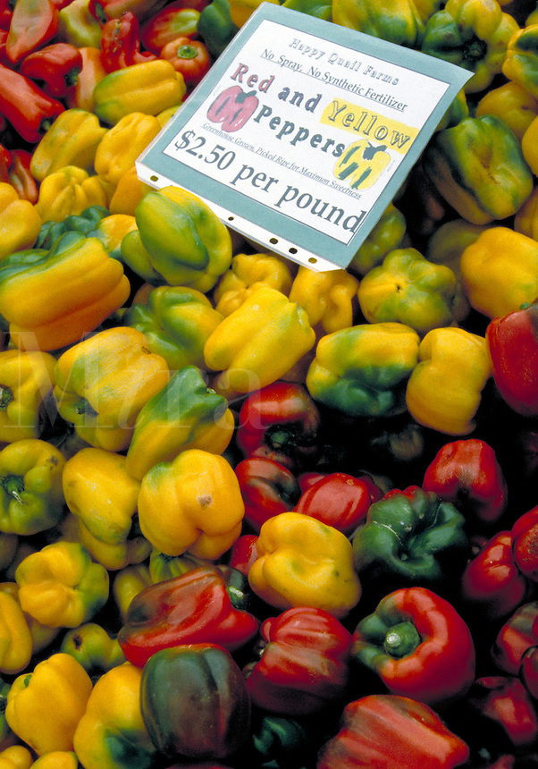 Produce for sale at the organic farmers market. shopping, food, fruit, vegetables, farming, trade. California.