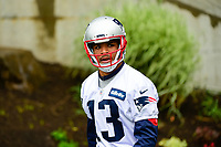 June 6, 2017: New England Patriots wide receiver Devin Lucien (13) walks to practice in the rain at the New England Patriots mini camp held on the practice field at Gillette Stadium, in Foxborough, Massachusetts. Eric Canha/CSM