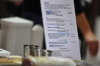 Melbourne, 30 May 2017 - The workplan of Michael Cole of the Georgie Bass CafÈ & Cookery in Flinders at the Australian selection trials of the Bocuse d'Or culinary competition held during the Food Service Australia show at the Royal Exhibition Building in Melbourne, Australia. Photo Sydney Low
