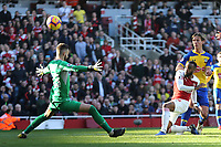 Alexandre Lacazette of Arsenal fires over the bar during Arsenal vs Southampton, Premier League Football at the Emirates Stadium on 24th February 2019