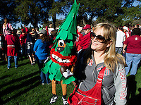 Jane Myles with Wee Tree a hand puppet of the Stanford Tree before Saturday, November 23, 2013, Big Game at Stanford University.