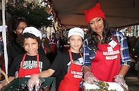 Los Angeles, CA - NOVEMBER 23: Jax Joseph Nilon, Jaid Thomas Nilon, Garcelle Beauvais, At Los Angeles Mission Thanksgiving Meal For The Homeless At Los Angeles Mission, California on November 23, 2016. Credit: Faye Sadou/MediaPunch