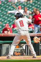 Barrett Barnes #8 of the Texas Tech Red Raiders at bat against the Arkansas Razorbacks at Minute Maid Park on March 2, 2012 in Houston, Texas.  The Razorbacks defeated the Red Raiders 3-1. (Brian Westerholt/Four Seam Images)