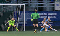 Allston, Massachusetts - May 7, 2016:  In a National Women's Soccer League (NWSL) match, Chicago Red Stars (dark blue/blue) defeated Boston Breakers (white/blue), 1-0, at Jordan Field. Penalty kick foul on Kristie Mewis.