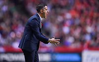 Vancouver, Canada - Thursday November 09, 2017: John Herdman celebrates during an International friendly match between the Women's National teams of the United States (USA) and Canada (CAN) at BC Place.