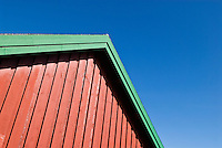 Detail of Red painted Rorbu cabing, Stamsund, Lofoten islands, Norway
