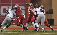 NWA Media/Michael Woods --11/22/2014-- w @NWAMICHAELW...University of Arkansas quarterback Brandon Allen drops back to pass in the 1st quarter of Arkansas 30-0 win over Ole Miss during Saturdays game at Razorback Stadium.