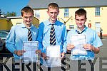 SUNSHINE: On a sunny Wednesday Evan O'Brien (Castleisland), Kieran Griffin (Firies) and Jack McAuliffe (Cordal) of St Patrick's Secondary School, Castleisland delighted with their Leaving Cert result