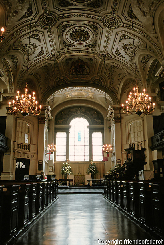 James Gibbs: St. Martin-in-the-Fields, London. Nave detail. Photo '90.