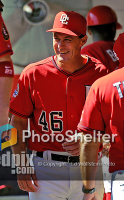 23 September 2007: Washington Nationals pitching coach Randy St. Claire smiles in the dugout prior to the historic last professional baseball game played at Robert F. Kennedy Memorial Stadium in Washington, DC. The Nationals defeated the visiting Philadelphia Phillies 5-3 to close out the home season at RFK.. .Mandatory Photo Credit: Ed Wolfstein Photo