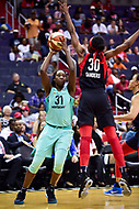 Washington, DC - June 15, 2018: Washington Mystics forward LaToya Sanders (30) defends New York Liberty center Tina Charles (31) during game between the Washington Mystics and New York Liberty at the Capital One Arena in Washington, DC. (Photo by Phil Peters/Media Images International)
