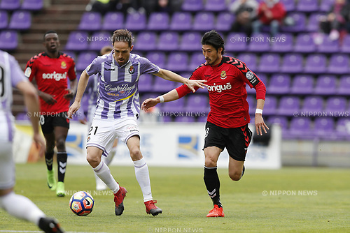 "(L-R) Michel Herrero (Valladolid), Daisuke Suzuki (Tarragona), MARCH 25, 2017 - Football / Soccer : Spanish ""Liga 123"" match between Real Valladolid 1-2 Gimnastic Tarragona at the Estadio Jose Zorrilla in Valladolid, Spain. (Photo by Mutsu Kawamori/AFLO) [3604]"
