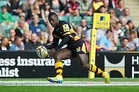 Christian Wade of London Wasps scores a try during the Aviva Premiership match between London Wasps and Harlequins at Twickenham on Saturday 1st September 2012 (Photo by Rob Munro).