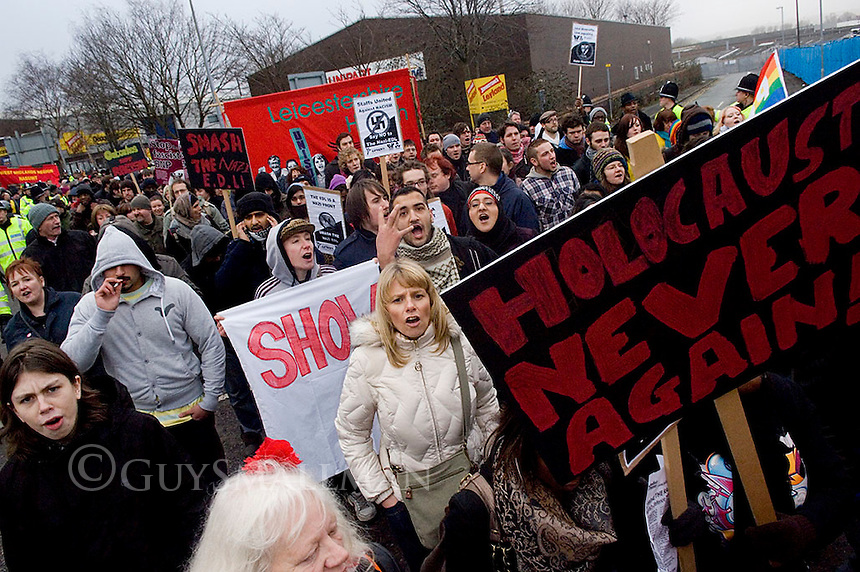 Unite Against Fascism hold a march and rally against the English Defence League in Stoke.