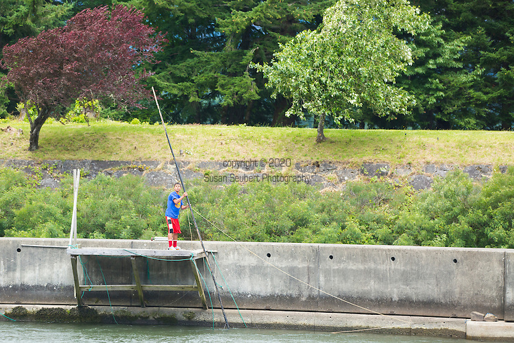 Traditional Native American Fishing from platforms on the Columbia River at Cascade Locks, Oregon