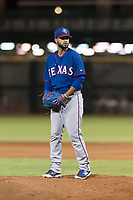AZL Rangers relief pitcher Luis Rosario (76) gets ready to deliver a pitch during an Arizona League game against the AZL Giants Black at Scottsdale Stadium on August 4, 2018 in Scottsdale, Arizona. The AZL Giants Black defeated the AZL Rangers by a score of 6-3 in the second game of a doubleheader. (Zachary Lucy/Four Seam Images)