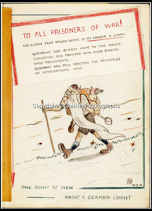 """BNPS.co.uk (01202 558833)<br /> Pic:   LionHeartAutographs/BNPS<br /> <br /> A pencil caricature of an elderly, bearded and bespectacled hiker, entitled """"One point of view about a German leaflet"""" upon which a torn piece of paper is pasted that states """"The escape from prison camps is no longer a sport"""".<br /> <br /> A remarkable diary kept by a POW in the Great Escape camp which includes a tribute to the 50 men executed in its reprisals has come to light.<br /> <br /> British RAF officer Joseph Gueuffen, of 609 Squadron, was shot down during a bombing raid over Germany and held captive at Stalag Luft III from late 1943 until the end of the war.<br /> <br /> The Belgian born pilot was kept in Block 109, a barrack which played an integral part in the mass escape of prisoners on March 24, 1944.<br /> <br /> The diary boasts a list of the officers executed by the Nazis following their recapture and a drawing of the permanent memorial for them by Belgian RAF pilot Bobby Laumans."""