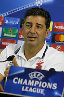 attends at press conference at eve of champions league soccer match against Napoli  at San Paolo Stadium<br /> <br /> attends at press conference at eve of champions league soccer match against Napoli  at San Paolo Stadium<br /> <br /> Rui Vitoria  attends at press conference at eve of champions league soccer match against Napoli  at San Paolo Stadium