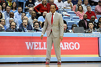 CHAPEL HILL, NC - FEBRUARY 25: Head coach Kevin Keatts of North Carolina State University during a game between NC State and North Carolina at Dean E. Smith Center on February 25, 2020 in Chapel Hill, North Carolina.