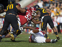 Hawgs Illustrated/BEN GOFF <br /> T.J. Smith (52), Arkansas defensive end, latches on to Ish Witter, Missouri running back, in the first quarter Friday, Nov. 24, 2017, at Reynolds Razorback Stadium in Fayetteville.
